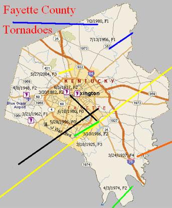 Tornado map Fayette County